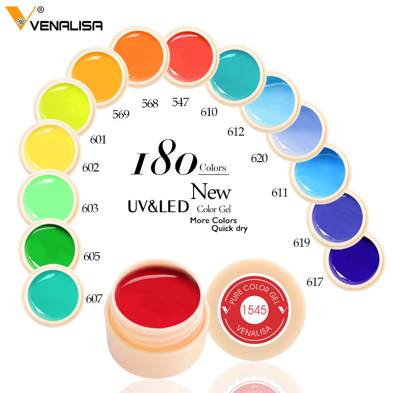 Venalisa New 2019 Manicure Nail Art Tips 180 Färg UV LED Soak Off Gel Lak Polsk Färg Gel Bläck UV Gel För Nail Art Design