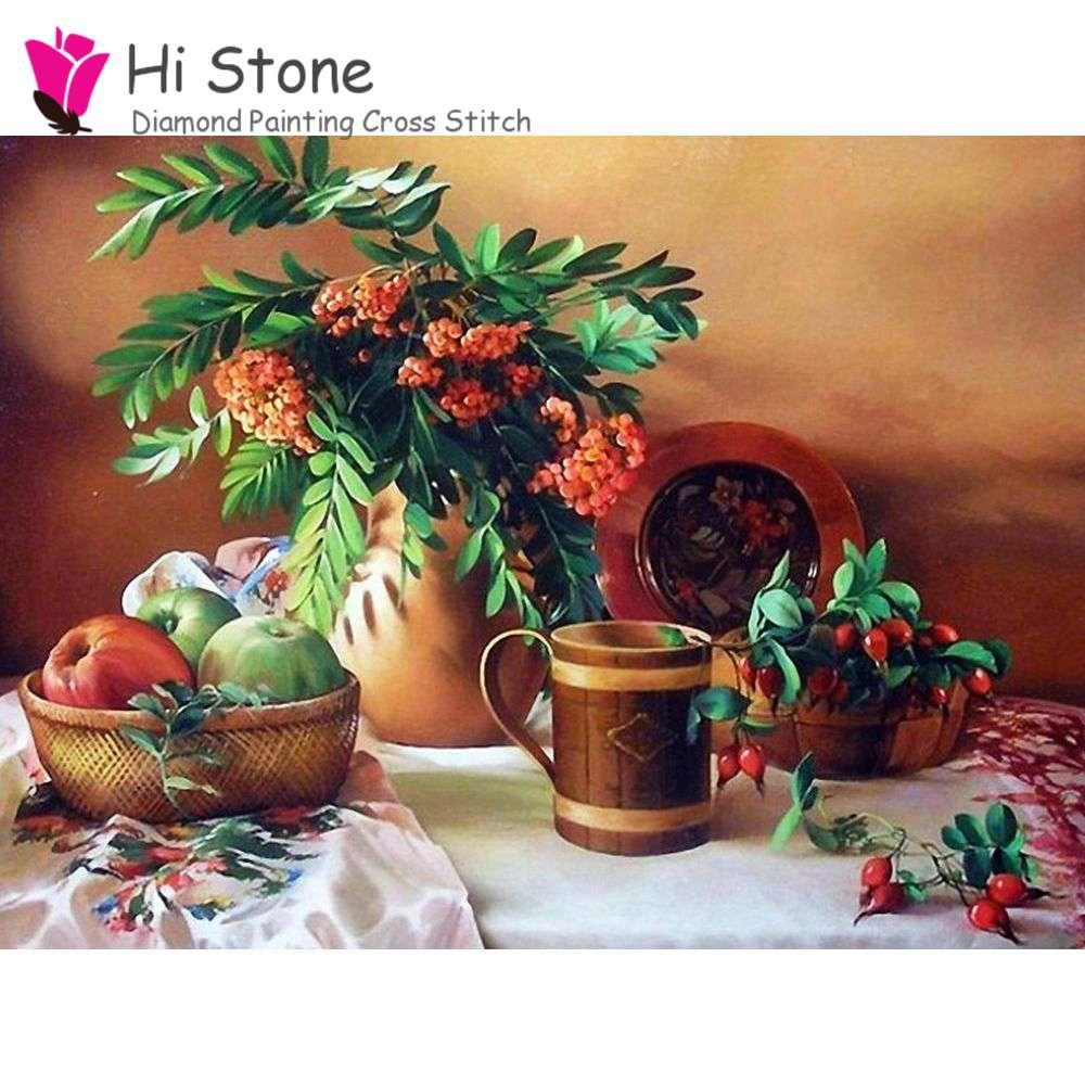 5D DIY Алмазный живопись цветы и фрукты Вышивка крестом полный горный хрусталь мозаика живопись Home Decor подарок