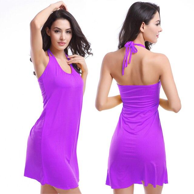 2019 Popular Victoria Design Hot Wholesale Double Spaghetti Straps O Neck Matches Bikini Cover Up Dress Beach S.M.L.XL