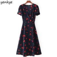 Summer 2018 Sweet Women Floral Printed A Line Dress Short Sleeve Cross V Neck Tie Waist