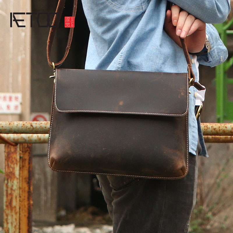 AETOO Crazy horse leather men poor package hand leisure cowhide personality shoulder bag Messenger bag leather