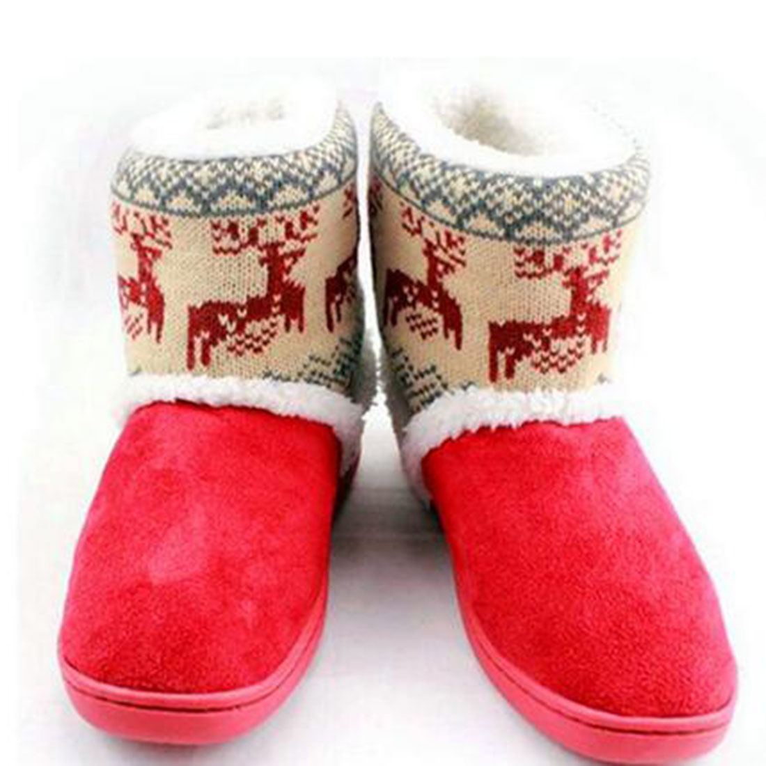 Deer Snow Booties Women Thicken Mid-calf  Winter Elk Warm Women Couple Plush Boots Fur Lined Shoes plus size 36-41 double buckle cross straps mid calf boots