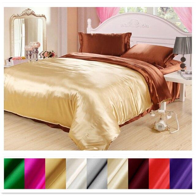 Capa de edredão de seda 1pc 2 lados cores diferentes 100% mulberry seda multicolorido seda sólida 2 cores podem ser personalizadas ls180101