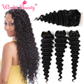 Peruvian Virgin Hair Weft Deep Wave With Lace Closure Peruvian Deep Wave Human Hair Weave Bundles With Lace Closure 4pcs Lot