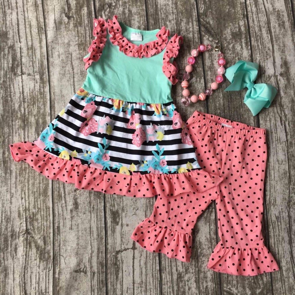 girls Summer outfit baby floral mint clothes cotton striped polka dot boutique ruffles clothes kids sets matching accessories 2016 summer baby child girls outfits ruffles shorts white striped watermelon boutique ruffles clothes kids matching headband set