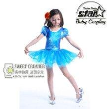 2016 Kid Girl's Cinderella Princess Ballet Tutu Dancing Dress Cinderella Cosplay Costume Blue Birthday Party Dress Vestidos