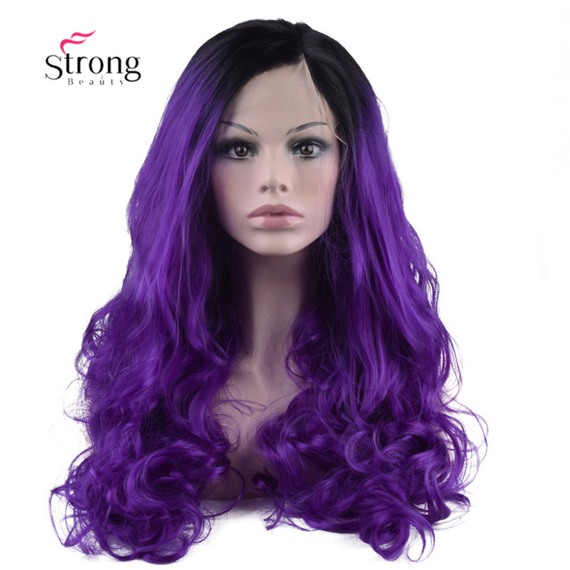 Ombre Purple Lace Front Wigs For Women 2 Tones Black Roots