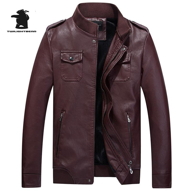 New Winter Mens Leather Jacket Fashion Slim Stand Collar Fleece Casual PU Leater Coats Brown Biker Leather Jacket Men 3XL DB8F08