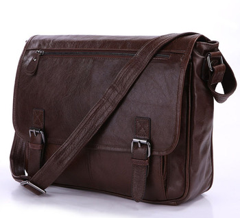 Nesitu High Quality Selection Best Gift Chocolate 100% Real Guarantee Genuine Leather Cowhide Men Messenger Bags #M7022LB