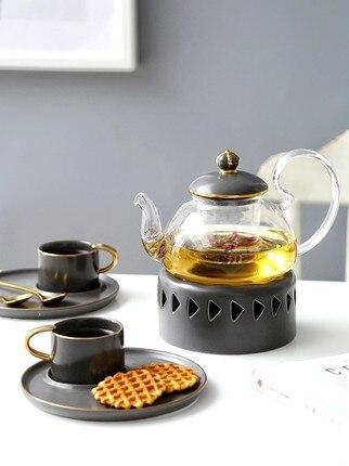 Ensemble de thé fleur nordique théière de fruits chauffant maison fleur thé en céramique verre anglais après-midi thé tasses simples bougie