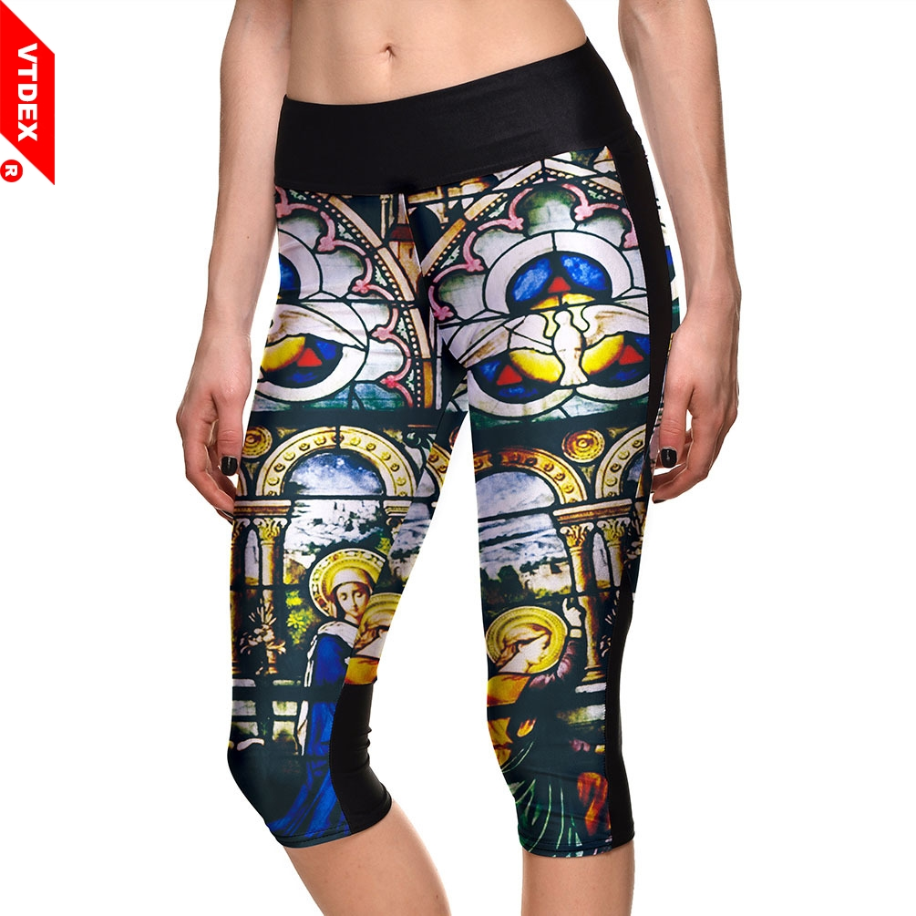 VTDEX Women Leggings Capri Egyptian Culture Pattern GYM