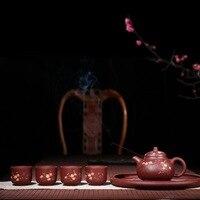 2018 новый стиль 450cc Исин отлично фиолетовый песок чайный набор ладан ручной росписью с чайный сервиз Кунг фу путешествия чайник