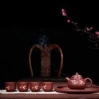 2018 new style 450cc Yixing excellent purple sand tea set frankincense hand painted with tea set Kung Fu travel teapot