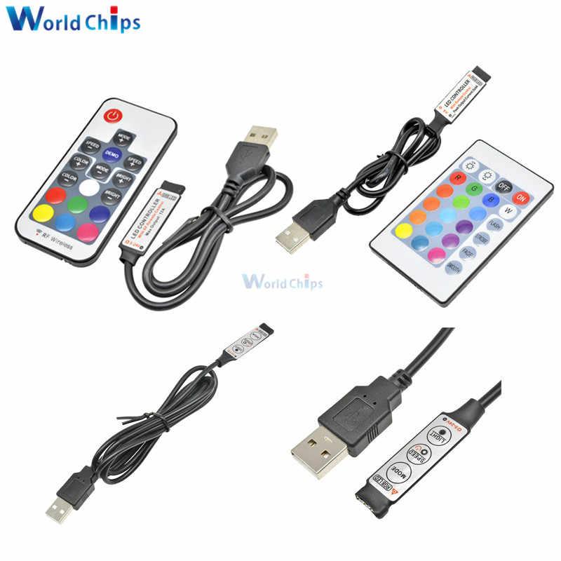 Tira de luces Led USB 5 V DC 12 V voltios RGB USB IR RF control remoto inalámbrico 3 17 24 teclas de control remoto para RGB 3528 SMD 5050