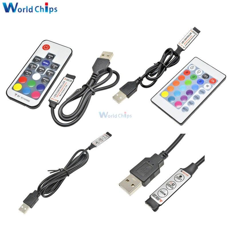 5V USB RGB Controller RF IR Remote Controller For 3528 5050 RGB LED Strip Light