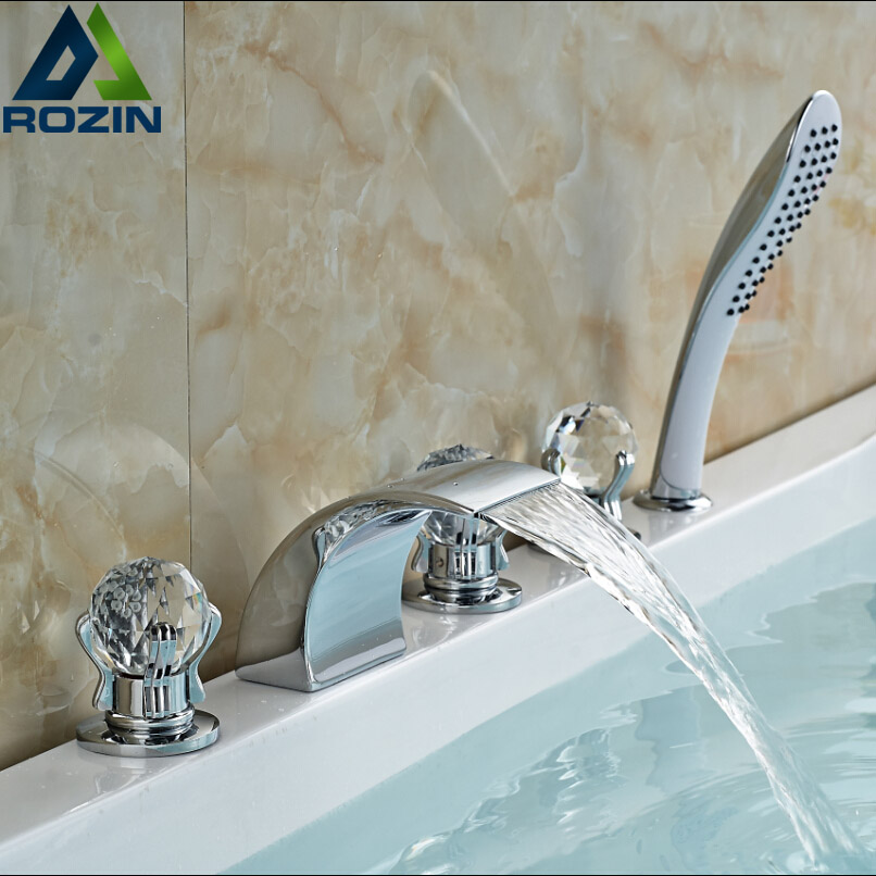 Chrome Finished Widespread Waterfall Roman Tub Filler with Handshower Deck Mount Bathroom Bathtub Mixer Taps
