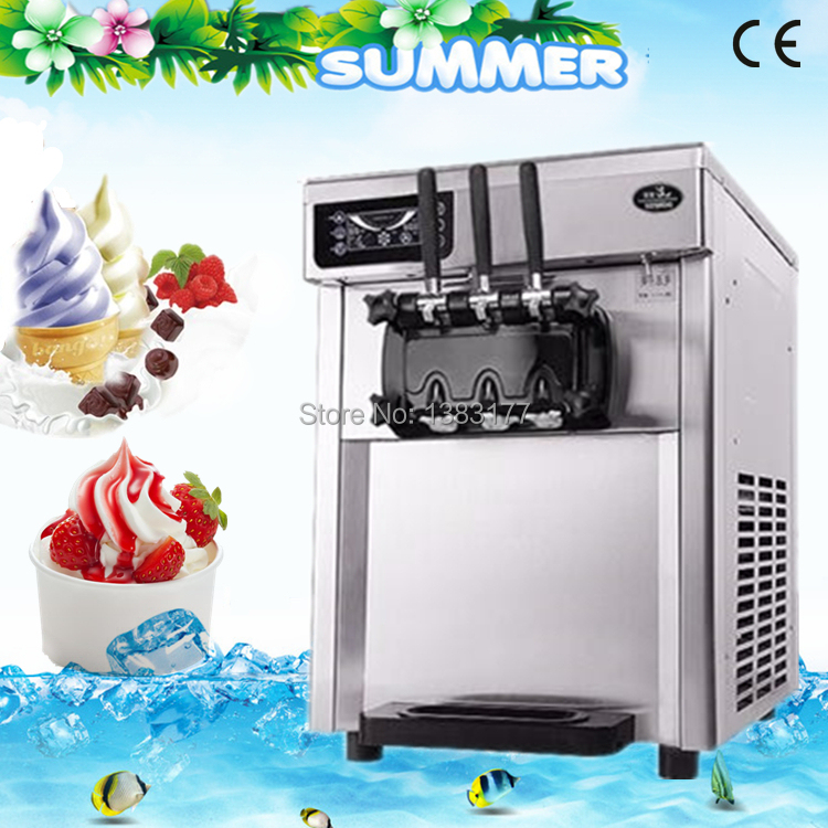 free ship tabletop 22 liters/H Stainless Steel Three Flavor commercial Ice Cream Machine/ automatic Soft Ice Cream Machine edtid new high quality small commercial ice machine household ice machine tea milk shop