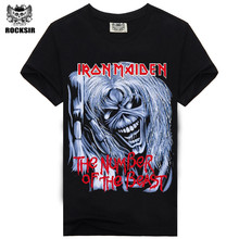 Rocksir Skull printed men t-shirts Black rock 100% cotton fashion Iron Maiden letters hip hop t shirt tops male tee tshirt