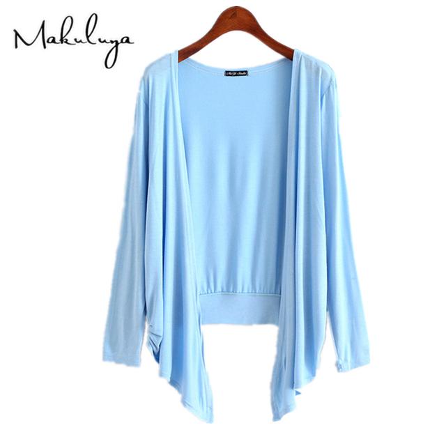 Makuluya Spring Autumn summer women cardigan thin modal candy color long outerwear sunscreen larg size Irregular shawl coat QW