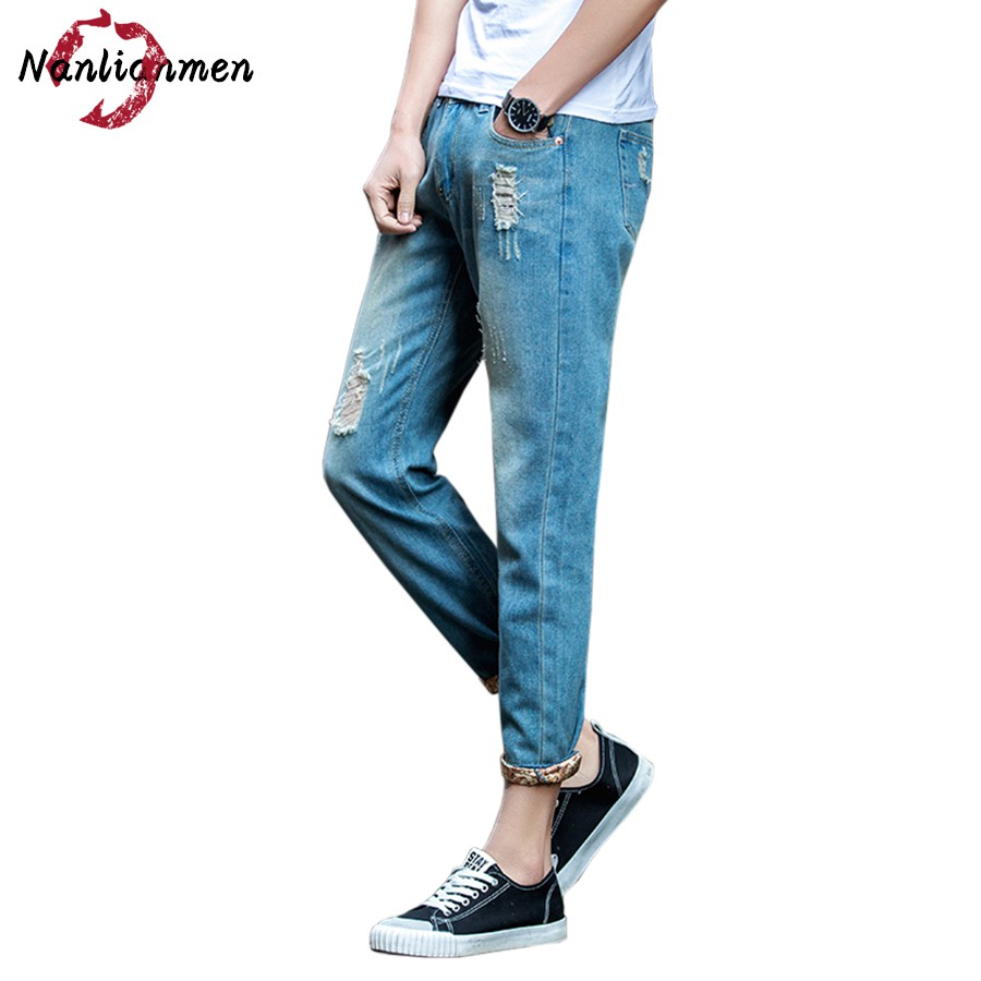 2017 Autumn New Skinny Ripped Jeans For Men spijkerbroek mannen Mens Jean Slim Homme Ankle-Length Strech Denim Pants Male 2016 new arrive famous brand clothing mens jeans homme fashion ripped jeans for men designer robin jeans gyms men s jean warm