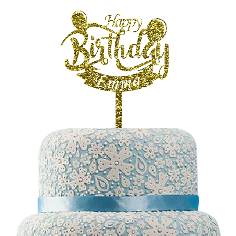 Any Age Personalised Glitter Cake Topper Name and Age