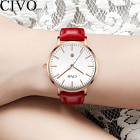 CIVO New Fashion Elegant Red Watch Waterproof Genuine Leather Quartz Wristwatches Women Famous Top Brand Ladies Dress Watches
