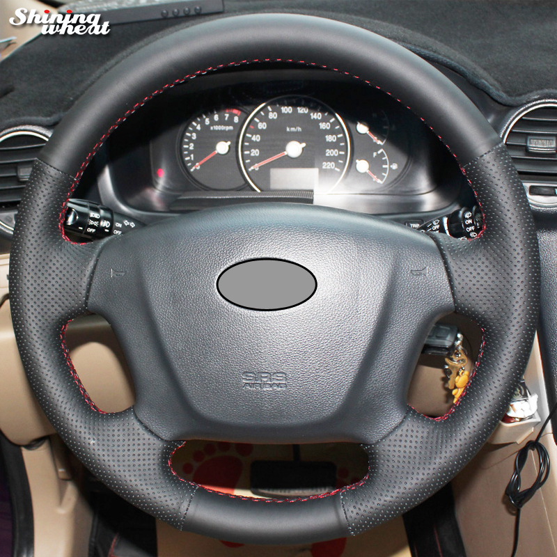 Shining wheat Hand-stitched Black Leather Car Steering Wheel Cover for Kia Carens 2007-2011
