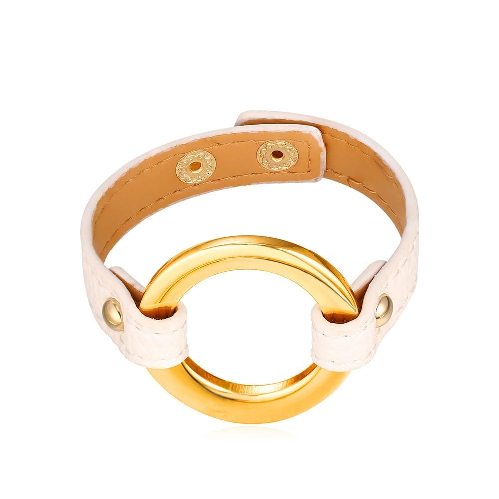 1ab013035392 New Hot Mode En Cuir Chaîne Bracelet Pour Les Femmes Américain 1.5 CM  Largeur Brun Rouge Noir Blanc O forme Charme Bracelets H2364