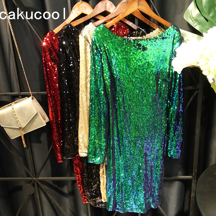 Cakucool Full Sequined Dress Spring Long Sleeve Backless Sexy Dress Big O neck Party Club Vestido Mid Long Bodycon Slim Dresses