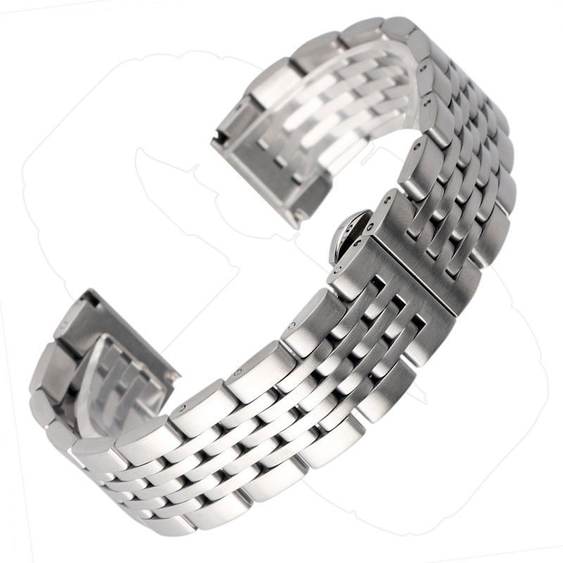 Watchband 20mm 22mm 24mm Silver Strap Push Button Hidden Clasp for Men Women Stainless Steel Replacement Adjustable Bracelet стоимость