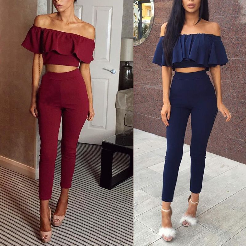 Rompers Womens Lady Summer V Neck Stripe Cold Shoulder Vest Sleeveless Flounce Jumpsuit Party Daily Summer Bodysuits 2018 C74*30