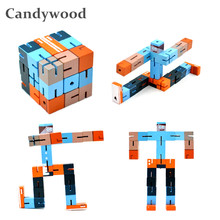 Candywood New square Wooden Robot A variety of gameplay Cute Colorful Robots Children Boy Girl Early Education Learning toys(China)