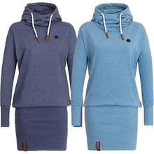 Women Polo Neck Long Sleeve Jersey Dress Casual Hooded Sweatershirts MINI Clingy Size S-XL