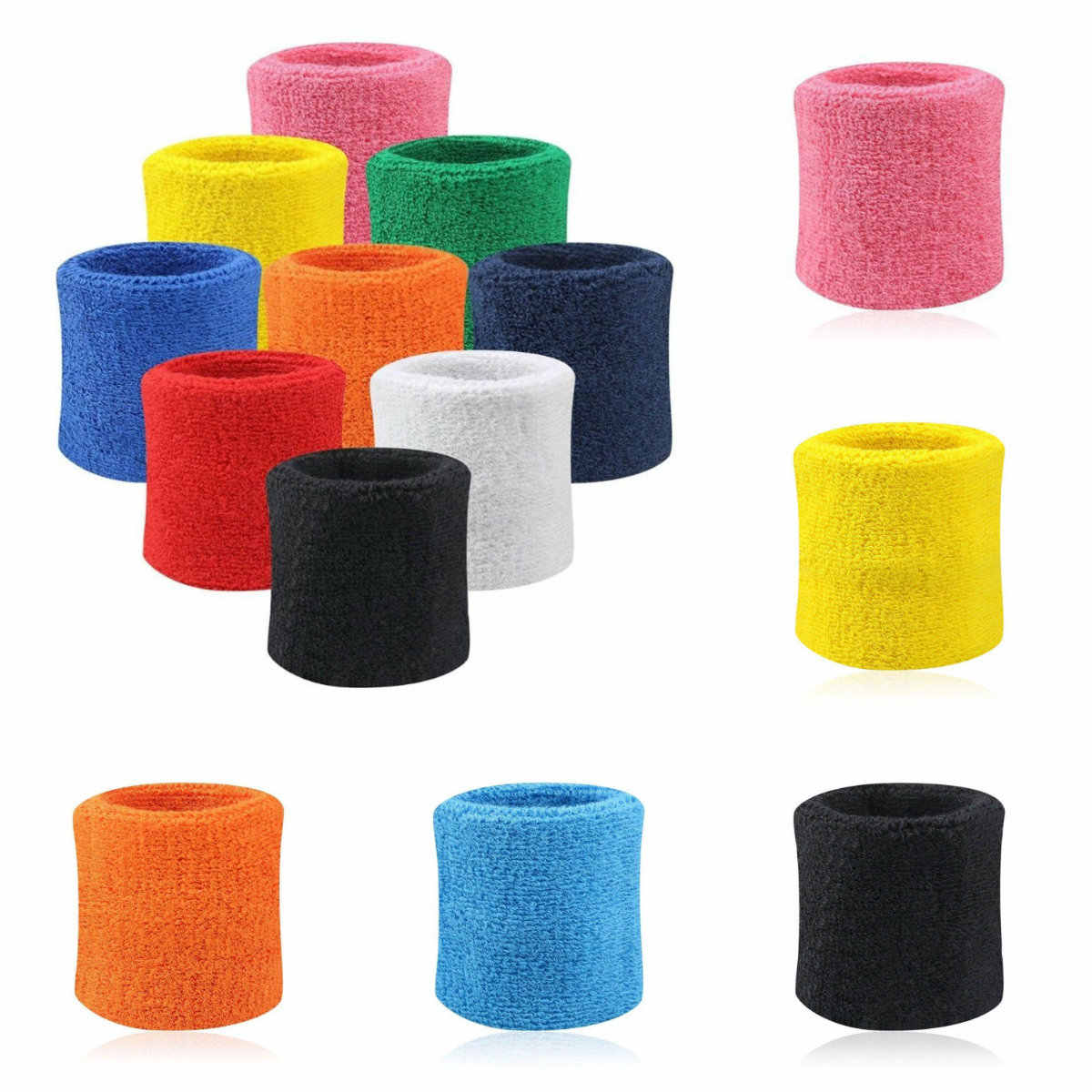 2PCs Wristbands Sport Sweatband Hand Band Sweat Wrist Support Brace Wraps Guards For Gym Volleyball Basketball Teennis