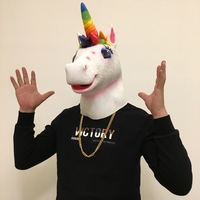 Color Unicorn Mask Halloween Horse Mask Novelty Head Latex Christamas Party Costume Mask Prop