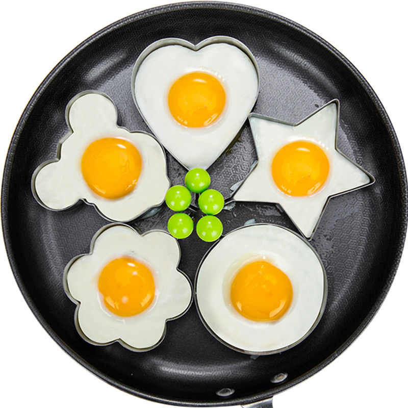 Stainless Steel 5Style Fried Egg Pancake Shaper Omelette Mold Mould Frying Egg Cooking Tools Kitchen Accessories Gadget Rings