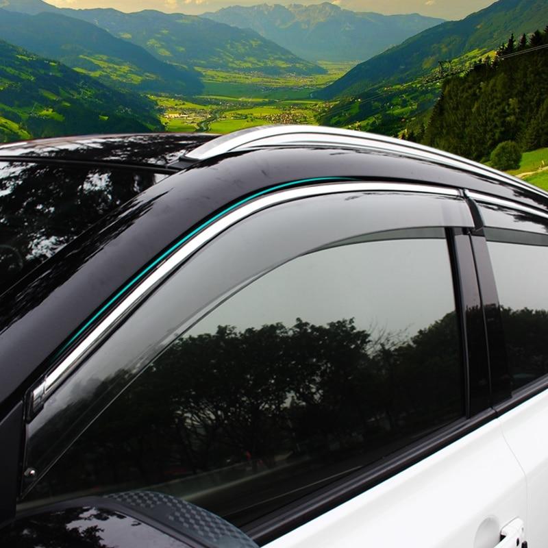 ABAIWAI 4PCS PC Stainless Steel Car Window Visor Shades Awnings For Suzuki 2015 2016 Vitara Auto