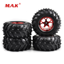 RC 4Pcs/Set 1:10 Scale Rubber Tyre & Wheel Rim with 12mm Hex fit 1/10 Bigfoot Monster Truck Car Model Parts and Accessories f17675 7 jmt 4pcs 38mm 1 20 rubber tire model wheel diy robot accessories toy parts for rc car