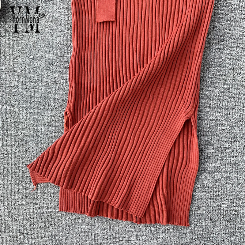 Image 5 - YornMona Elegant V Neck Split Midi Dress 2019 Autumn Winter Women Knitted Sweater Dress Button Long Sleeve Sashes Bodycon DressDresses   -