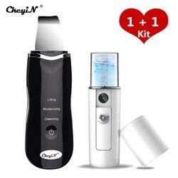 Limpiador ultrasónico de piel de Nano Ion limpiador Facial Extractor de pelado dispositivo de belleza de limpieza profunda + rociador de vapor Facial 39