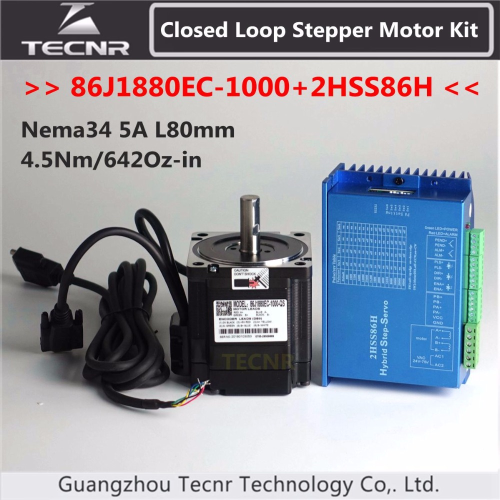 цена на NEMA 34 Closed Loop Stepper Motor Kit 4.5Nm 642Oz-in 5A 86J1880EC-1000+2HSS86H 2 Phase Step-servo Driver