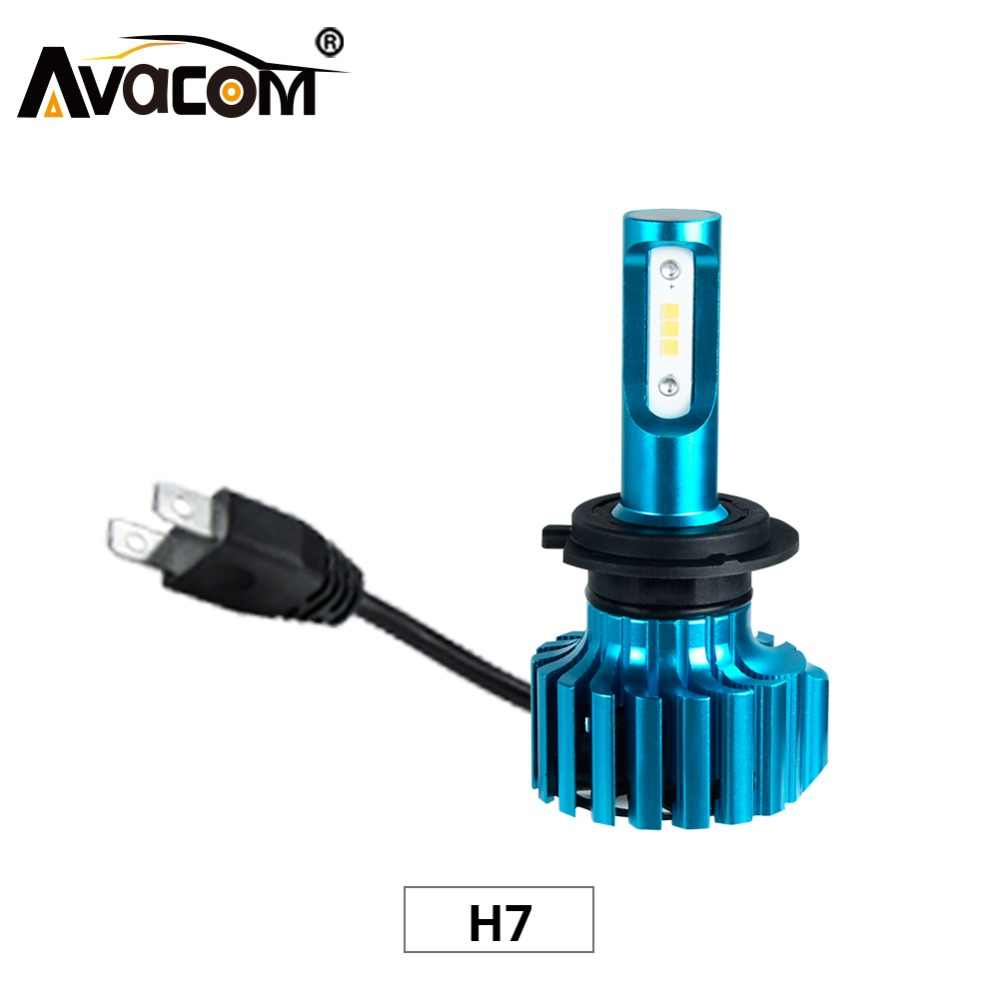Avacom 2Pcs LED H7 Turbo Automobiles Headlights 12V 6500K Super White CSP 12000Lm 72W 24V H7 LED Car Bulb For Motorcycle Truck