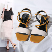 2019 summer womens new wild thick with leather ladies casual retro cross straps Roman high heels