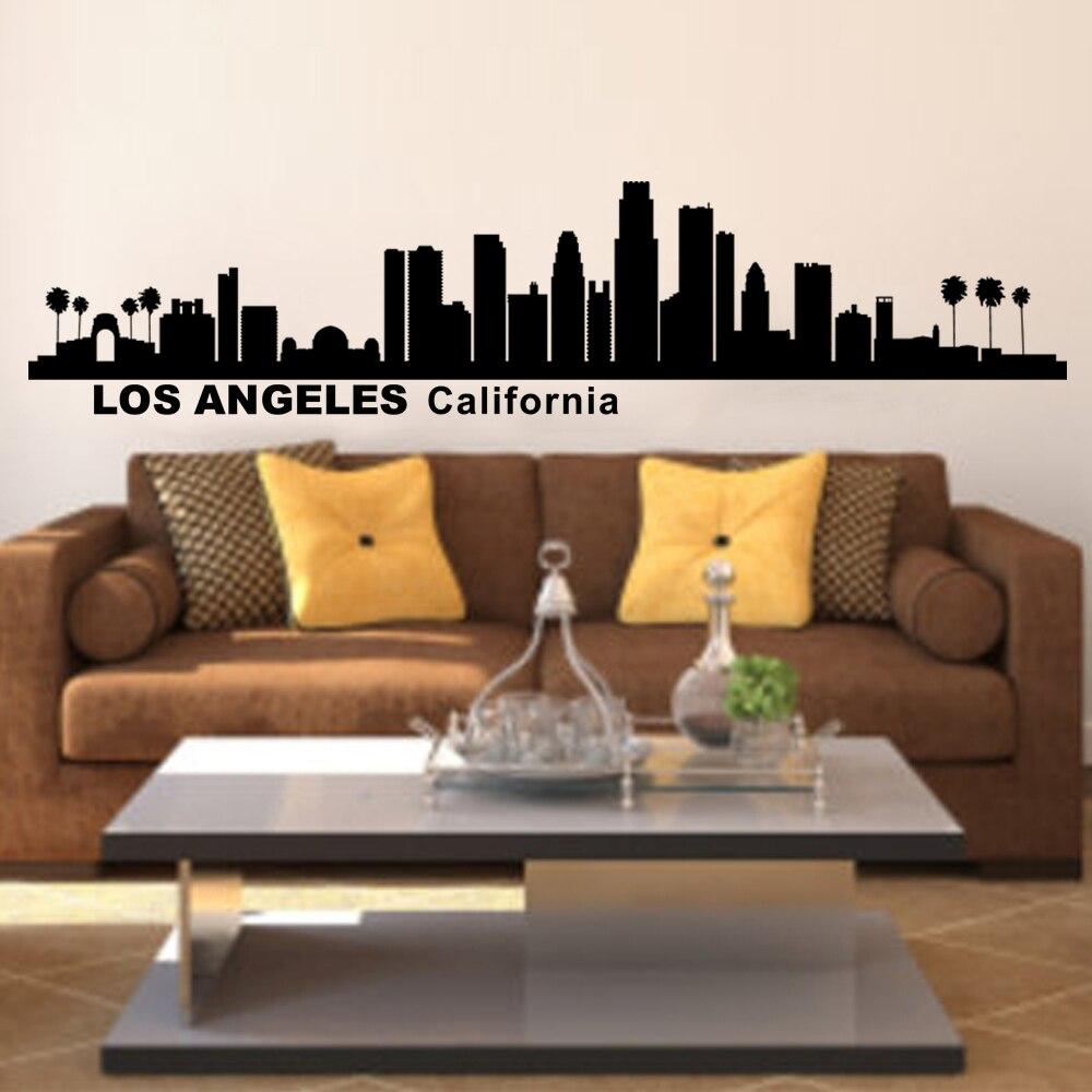 Los Angeles Home Decor: Los Angeles California City Skyline Silhouette Wall Art
