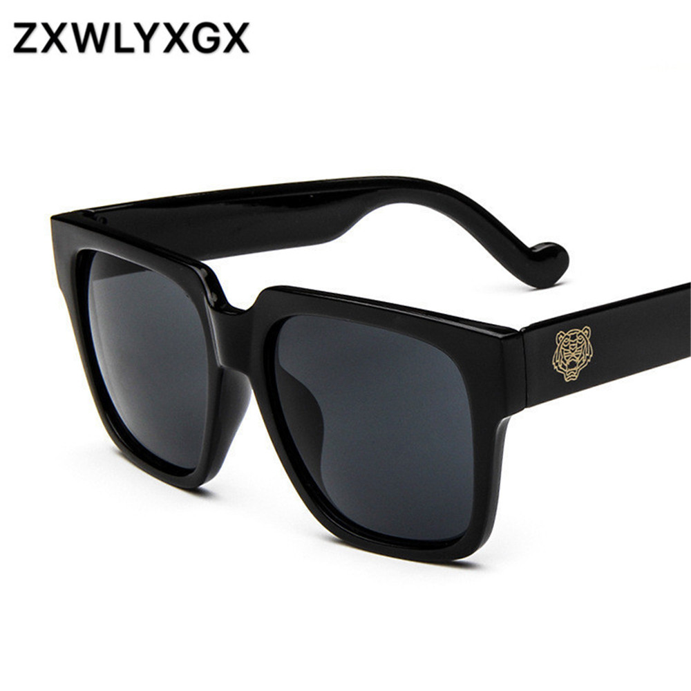 The Rushed New Adult Men Mirror Goggle 2017 Korean Edition Of Famous Tiger Head Big Box Sunglasses Stylish Pair Of With UV400