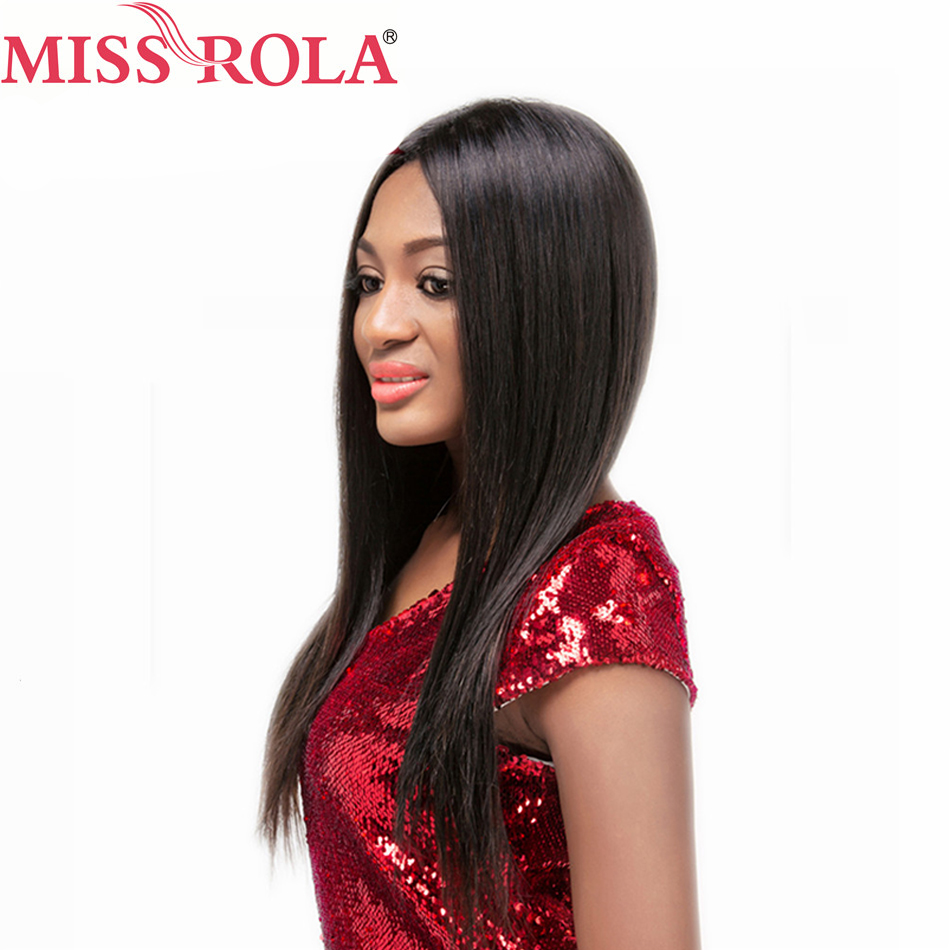 Miss Rola Hair Pro-colored Hair Malaysian Straight Hair with 4X4 Lace Frontal Closure #1 Nature Color Remy Hair