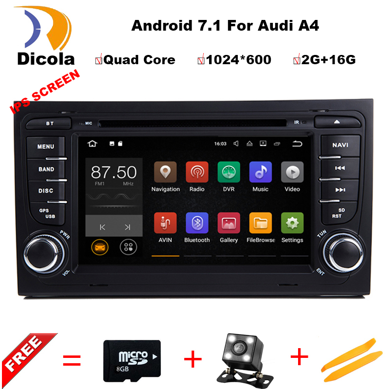 Quad Core 7 inch Android 7.1 Car DVD Player For Audi A4 2003-2008 Touchscreen Audio Bluetooth In Dash Car Stereo GPS Navigation 7 inch universal touchscreen for car audio car navigation dvd zcr 1879 touch screen digitizer panel 164mm 100mm