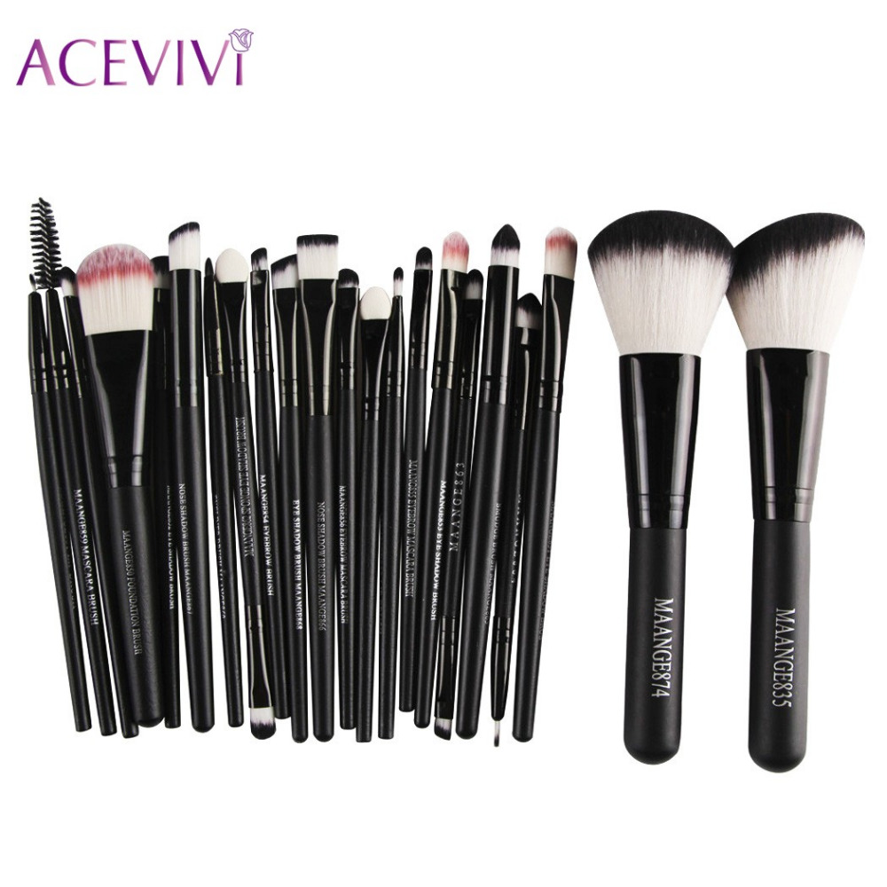 ACEVIVI Brand Black 22 Pcs Makeup Brushes Set Synthetic Hair Make Up Brushes Tools Cosmetic Foundation Power Eyeshadow Brush Kit best quality fast shipping 15 pcs soft synthetic hair make up tools kit cosmetic beauty makeup brush black set with leather case