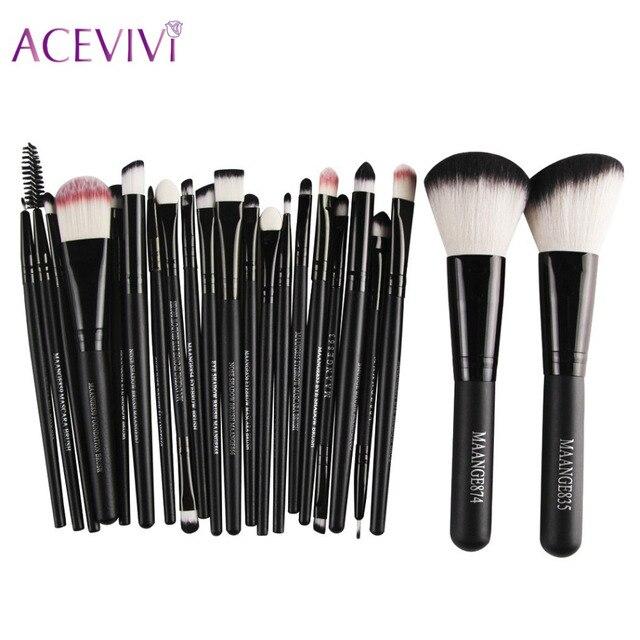 ACEVIVI Marca Negro 22 Unids Pinceles de Maquillaje Pelo Sintético Maquillaje Herramientas Cepillos Cosméticos Fundación Sombra de ojos de Potencia Kit de Cepillo