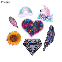 Prajna Embroidery Patch Unicorn Patches Rainbow Heart Feather Diamond Iron On Patches Sewing Decor For Clothing Bags Jeans Badge(China)
